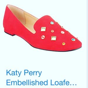 Katy Perry Red jeweled loafer